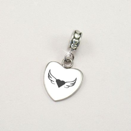 Personalised Memorial Charm with Angel Wings